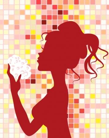 femme avec eponge konjac